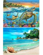 2 Packs 5D DIY Diamond Painting Paint by Numbers Kits for Adult Turtle & Beach Full Drill Diamond Embroidery Paintings Pictures Arts Craft for Home Decoration