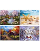 4 Pack 4 Seasons 5d Diamond Painting Kits Landscape Full Drill Paint with Diamonds