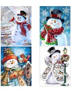 4 Pack 5D DIY Diamond Painting Kits Snowman Full Drill Rhinestone Embroidery Cross Stitch Painting for Christmas Home Decor