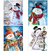4 Pack 5D DIY Diamond Painting Kits Snowman Full Drill Rhinestone Embroidery Cross Stitch Painting f..