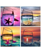 4 Pack Diamond Painting Kits for Adults Kids Set Cups Full Drill for Home Wall Decor