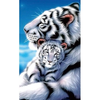 5D Diamond Diy Painting Full Drill Handmade White Tiger Mother Child Under Moonlight Starry Sky Cross Stitch Home Decor Embroidery Kit
