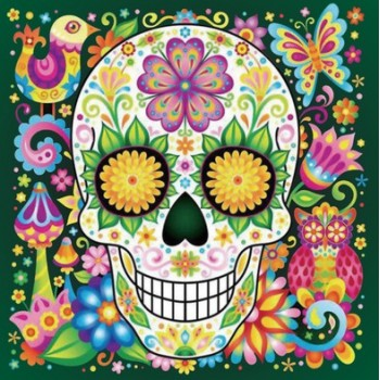 5d Artist Painting Kit Diy Cross Stitch Kit Great Designs Living Room Wall Decor Home Decor Happy Skull 11.81x11.81 Inch