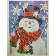 5d Diamond Painting Full Drill Diy Embroidery Painting Wall Sticker For Wall Decor Smile Snowman 11.81x15.75 Inch