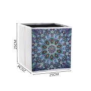 5d Diy Diamond Folder Box Different Shape Diamond Drawing Blue Mandala Flower 9.84x9.84x9.84 Inch..