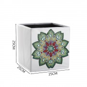 5d Diy Diamond Folder Box Different Shape Diamond Drawing Green Mandala Flower 9.84x9.84x9.84 Inch..