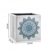5d Diy Diamond Folder Box Different Shape Diamond Drawing Light Blue Mandala Flower 9.84x9.84x9.84 Inch
