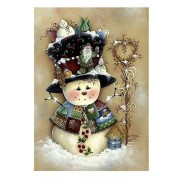 Country Shabby Snowman Christmas Diamond Painting Kit Full Drill Diamond Art Round Drills..