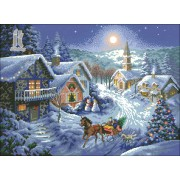 Diy Diamond Embroidery Christmas Snowy Night Diamond Painting Rhinestone Painting Cross Stitch Needl..