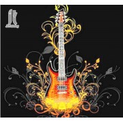 Diy Diamond Embroidery Flame Guitar Diamond Painting Rhinestone Painting Cross Stitch Needlework Hom..