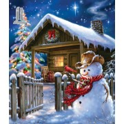Diy Diamond Embroidery Hut and Snowman Diamond Painting Rhinestone Painting Cross Stitch Needlework ..