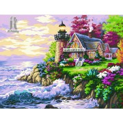 Diy Diamond Embroidery Seaside Cottage Diamond Painting Rhinestone Painting Cross Stitch Needlework Home Decoration