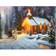 Diy Diamond Embroidery Snowy Chalet Diamond Painting Rhinestone Painting Cross Stitch Needlework Hom..