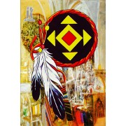 Diy Diamond Embroidery Totem with Feather Diamond Painting Rhinestone Painting Cross Stitch Needlewo..