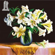 Diy Diamond Embroidery White Lily 2 Diamond Painting Rhinestone Painting Cross Stitch Needlework Home Decoration