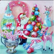 Old Fashioned Vintage Inspired Santa Deer Tree Candy Diamond Painting Kit Round Drills Full Drill..