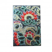 Passport Holder With Diy Diamond Painting Cover Christmas Gifts Special Shaped Diamond Red Flower 7.87x5.51 Inch