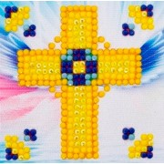 Rhinestone Painting Kit GOLDEN CROSS Diamond Dotz Diamond Embroidery Diamond Facet Art Bling Wall Ar..