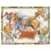 Sweet Baby Angels Christmas Nativity Religious Diamond Painting Kit Full Drill Round Drills..